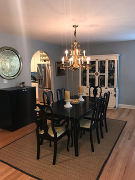 Dining Room with Faux Ostrich Fabric Chairs Light Blue Gray Walls