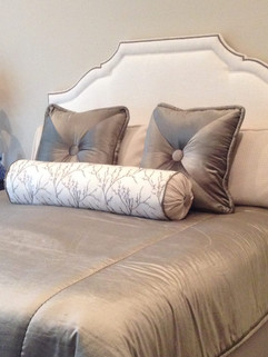 Bedroom Redesign Custom Headboard Custom Velvet Bedding and Neckroll