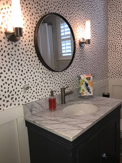 Bathroom Makeover with New Wallpaper, Vanity, Mirror and Lights