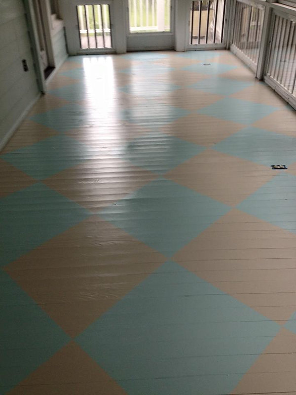 After Custom Painted Porch Floor Design.
