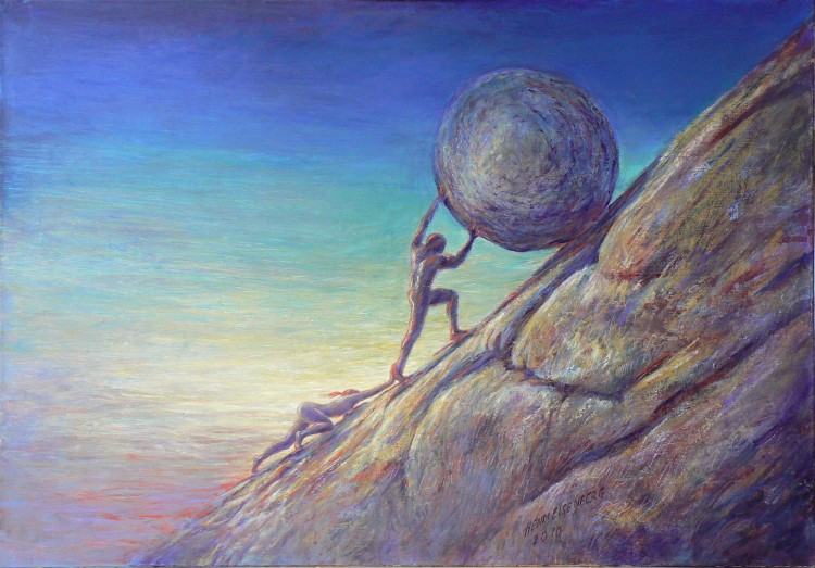 Sisyphe - Henri Einsenberg, peinture, rocher, inspiration, developpement personnel, massage, soin energétiques