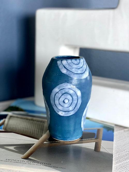 Curvy White Circles Vase