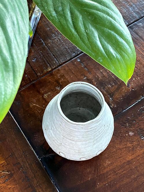 Small White Rustic Vase
