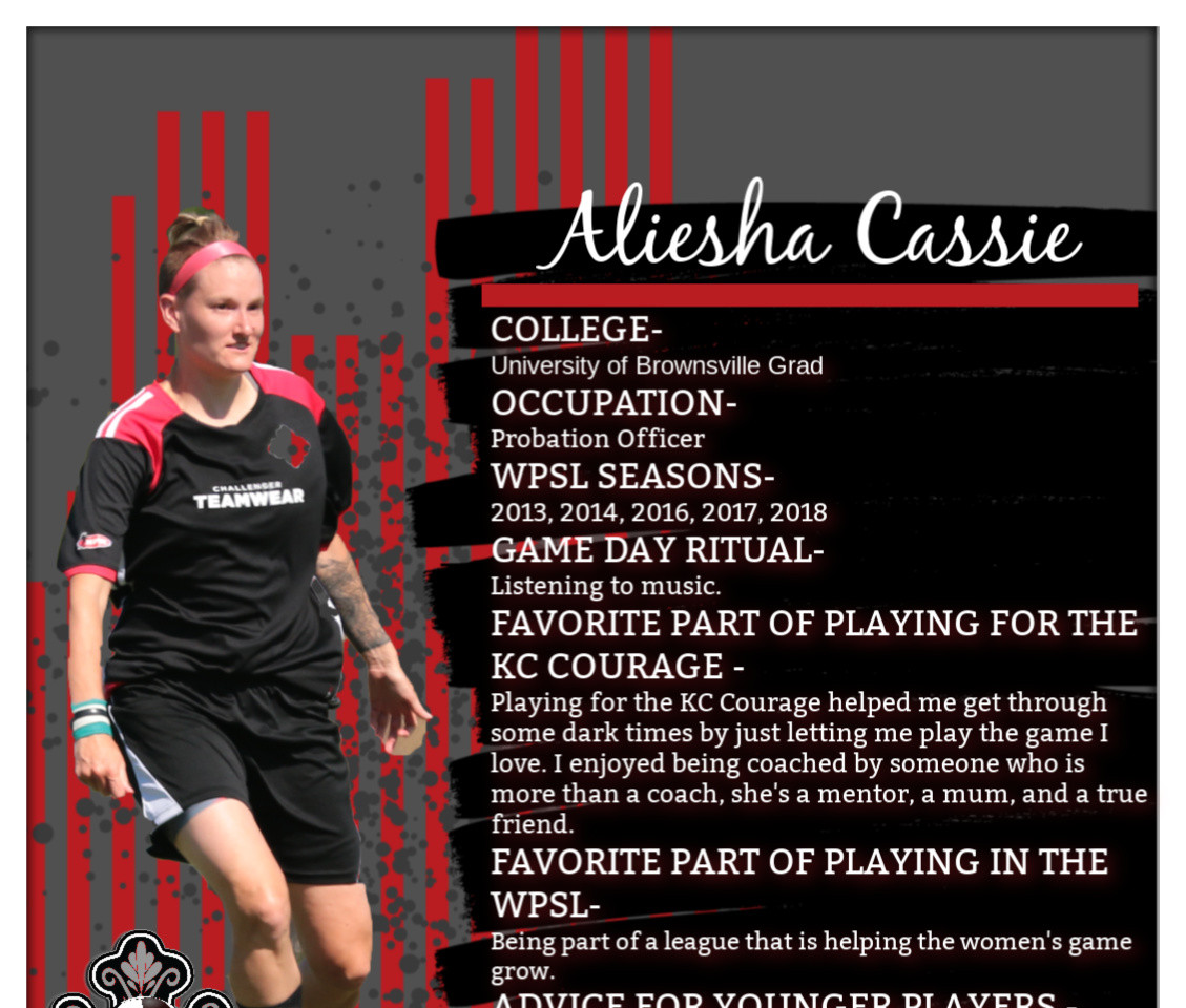 Aliesha Cassie, KC Courage, WPSL