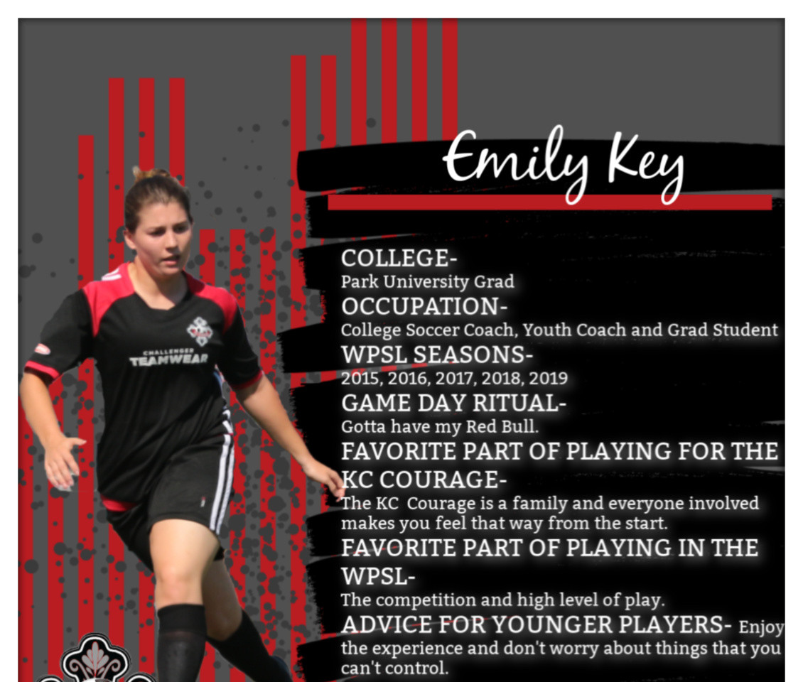 Emily Key, KC Courage, WPSL