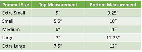 EDIX Saddles Pommel Size Chart