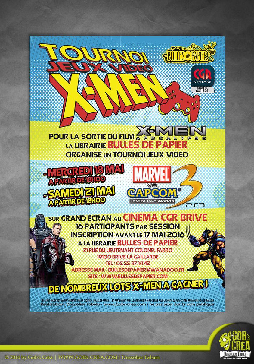 Flyer Tournoi jeux vidéo X-men