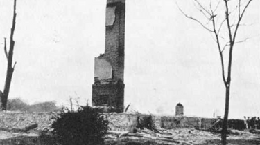 The ruins of the Kehoes' farm after the explosion