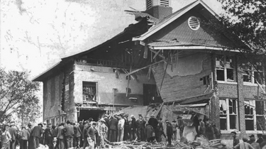 Front view of the school building after the bombing