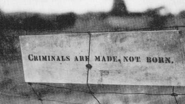 The stenciled message Kehoe constructed and left on a fence at his farm