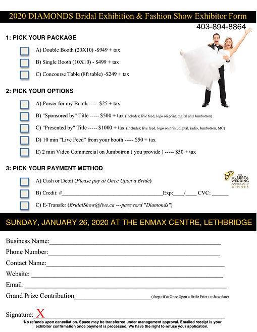 Bridal Show Exhibitor Registration 2020.
