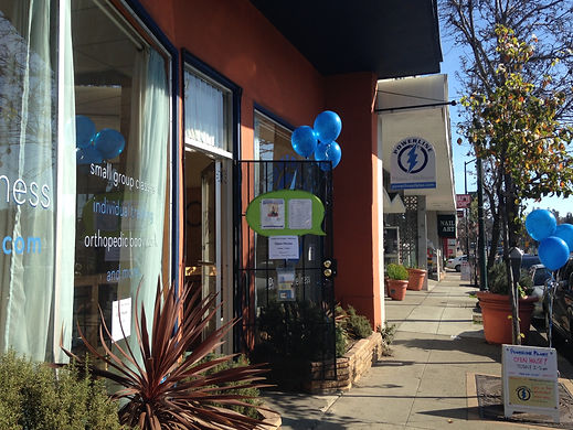 A sunny Grand Opening day for Powerline Pilates + Wellness in Oakland's vibrant Laurel district.