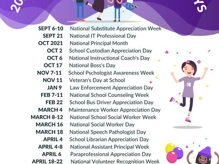 2021-2022 School Appreciation Day Calendar