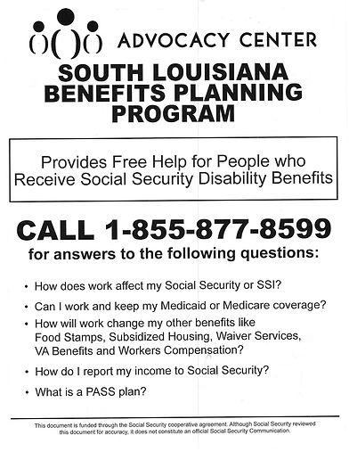 So Louisiana Benefits Planning flyer 1-855-877-8599