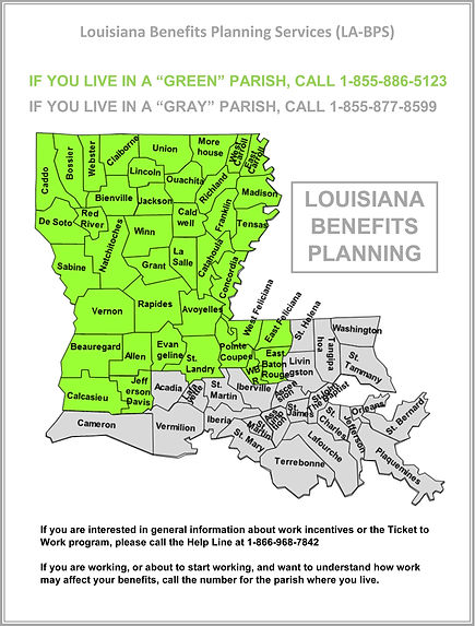 BENEFITS PLANNING Services of NORTH LA   map showing parishes served 855-886-5123