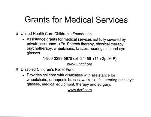 Grants for Medical services for Children