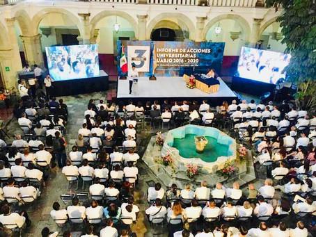 PRESENTA EL RECTOR DE LA MÁXIMA CASA DE ESTUDIOS DE OAXACA,3ER. INFORME DE ACCIONES UNIVERSITARIAS