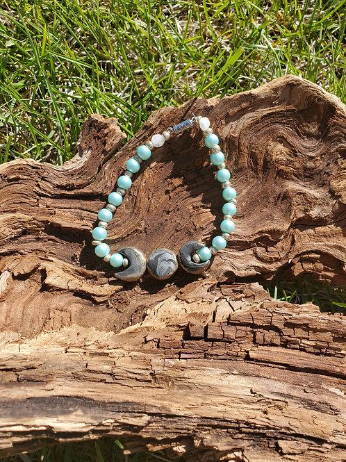 Triple Moon Beaded Bracelet- Blue