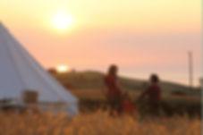Beautiful sunset camping glamping