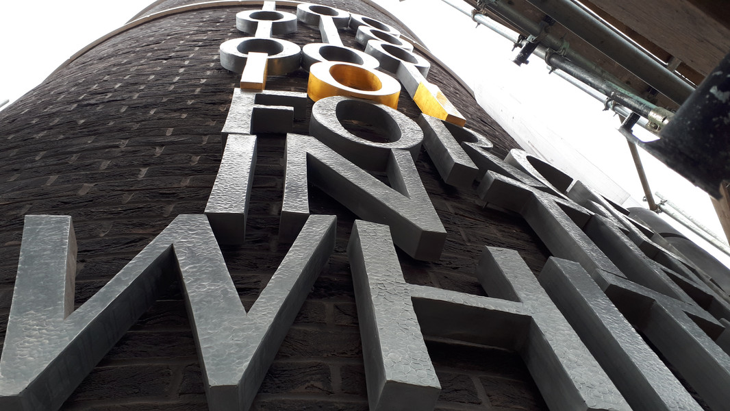 Public art lettering piece