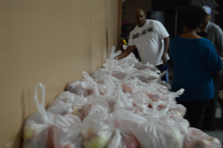 Bags of Fresh Veggies ready for distribution