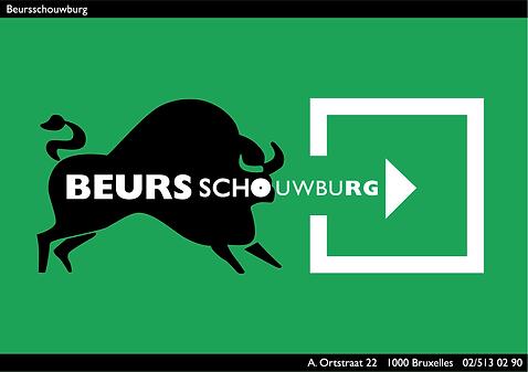 picto taureau, affiche promotionnel beursschouwburg, bruxelles, arts, cultures, musiques, découvertes musicales, chan graphisme, picto sortie, signaltique