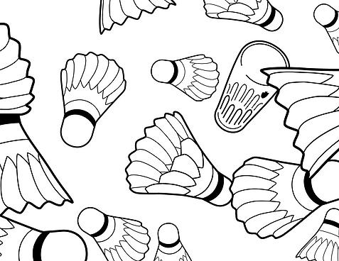 les fous du volant logo, club de badmington bruxellois, chan logo, chan graphiste, illustration volants, vectoriel