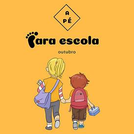 """Logo da campanha """"A pé para escola"""""""