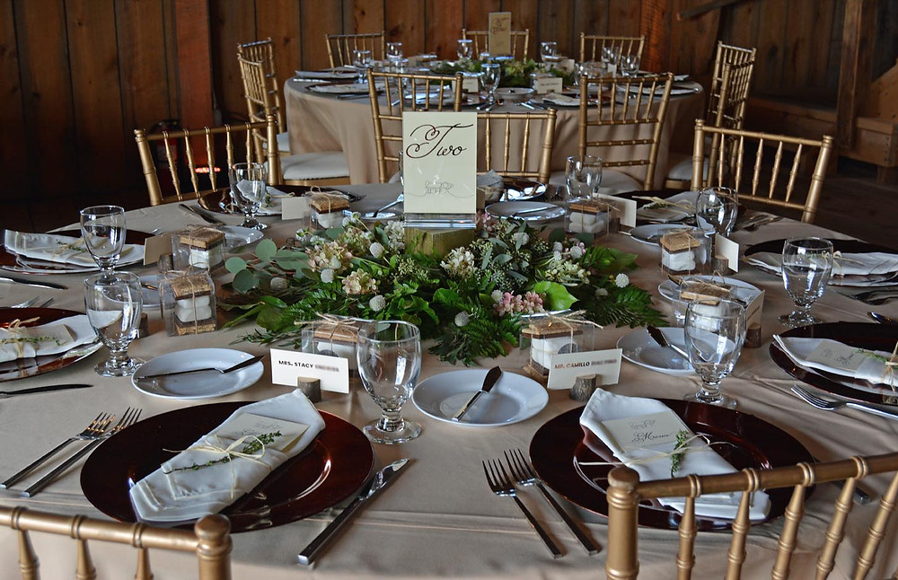 Barn wedding reception tablescape.