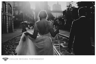 Bride and groom walking into the sunset after their wedding ceremony in Dumbo Brooklyn, NY.