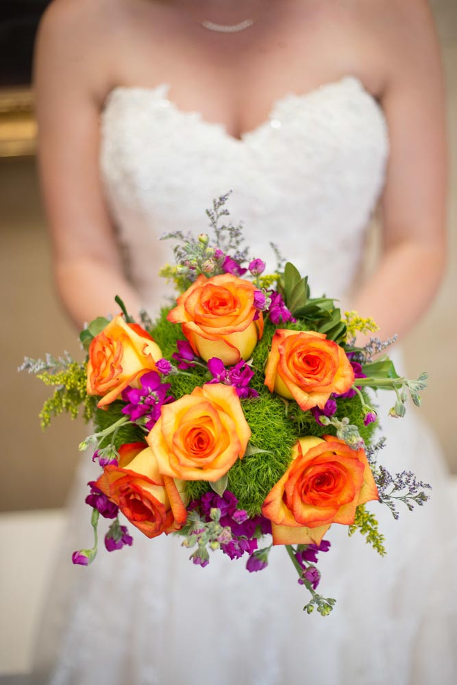 Beautiful bouquet held by a bride on her wedding day in Brooklyn, New York.