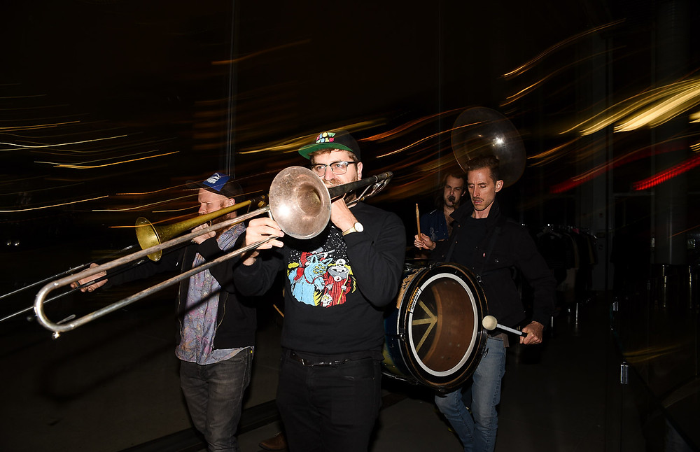 High and Mighty Brass Band performing for guests at a private event that was planned, coordinated and designed by Luxe Life Event Design in Brooklyn, NY.