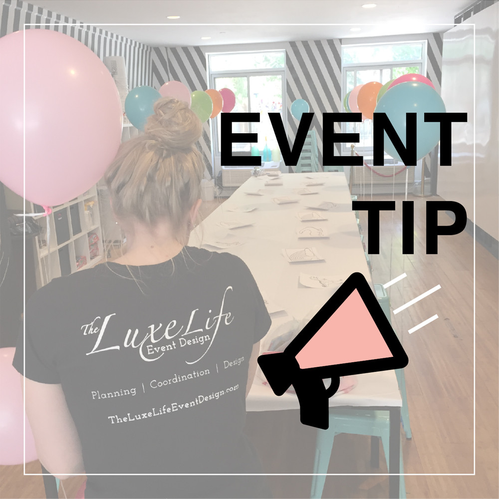 """Luxe Life Event Design's event planner blowing up balloons and decorating for party, with """"event tip"""" and megaphone overlay."""