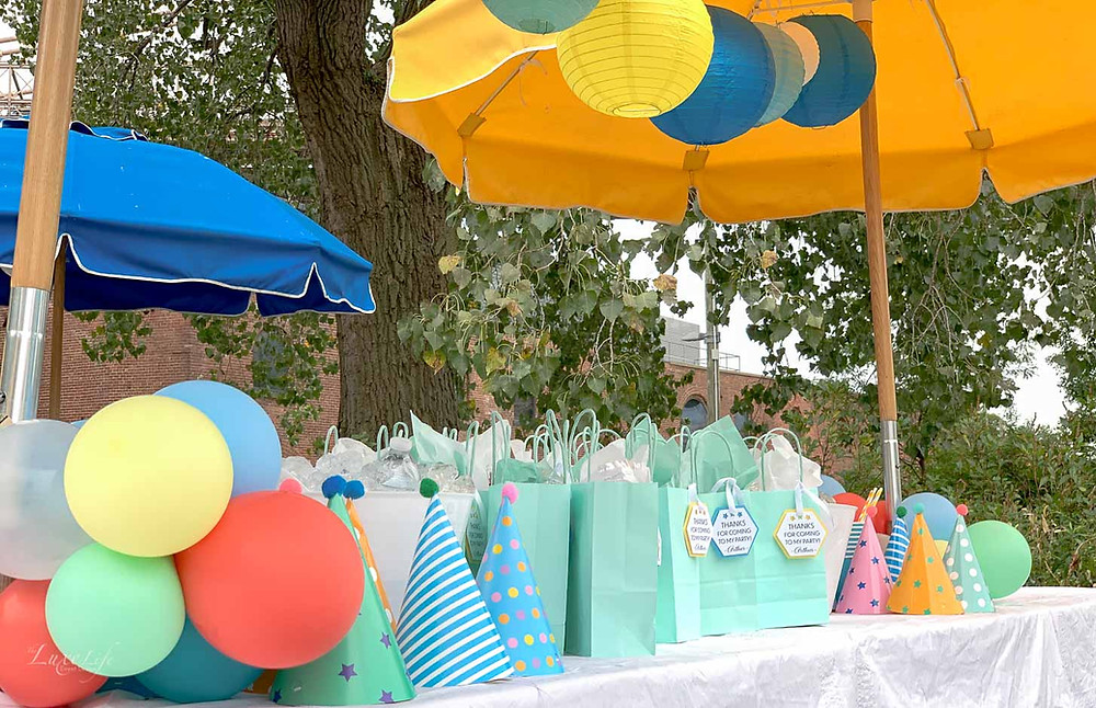 Stunning third birthday party with custom decorations and party favors at Brooklyn Bridge Park in Brooklyn, NY. Birthday planned, coordinated and designed by The Luxe Life Event Design. Photo by The Luxe Life Event Design.