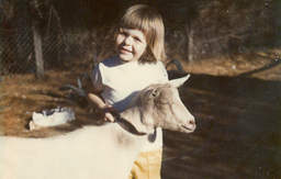 Mindy with her first goat.