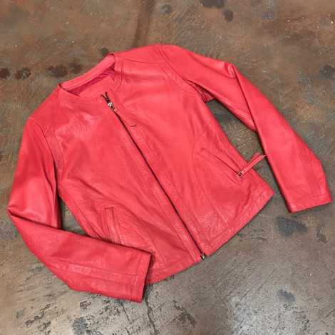 Red elegant leather jacket front zip.jpg