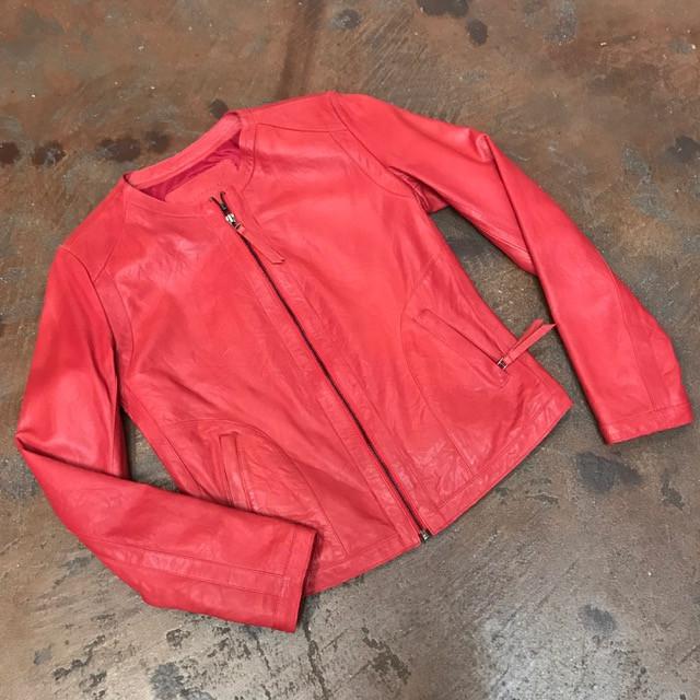 Red elegant leather jacket front zip.jpg