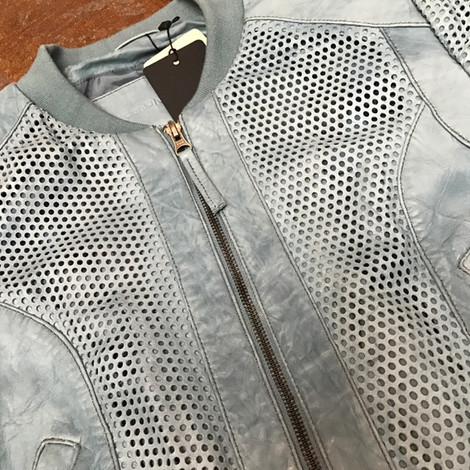 Blue laser cut front zip leather jacket, closeup.jpg