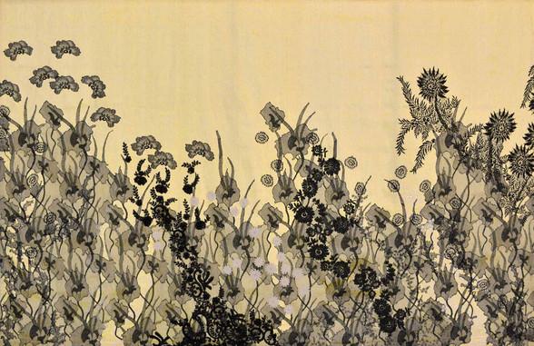 Fouillis d'herbes jaune