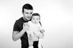 dad and baby black and white photography