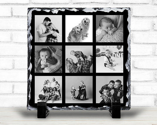 20x20cm Collage Rock Slate Print