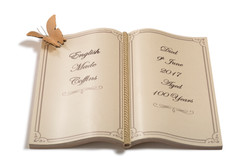 Book shaped nameplate
