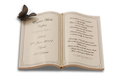 Book shaped nameplate with poem