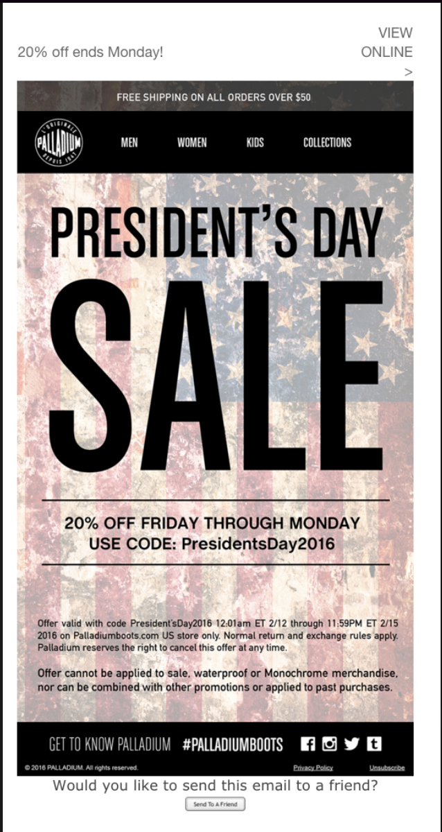 Presidents' Day Sale
