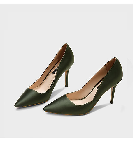 Fisher Classic Silk Satin Olive Green Pumps
