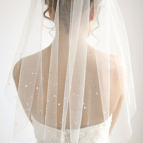 Hand-Crafted 118 Inches Wedding Gorgeous Pearl Veil