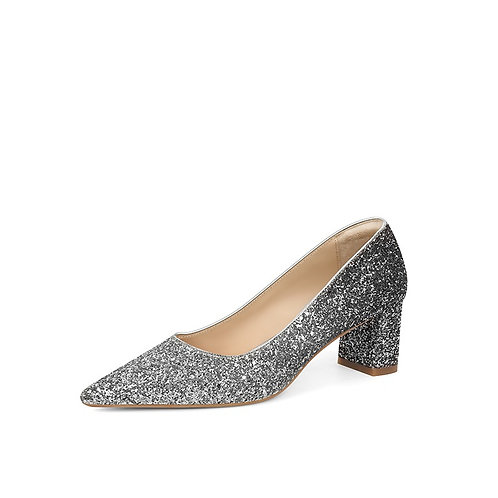 Fisher Comfortable Sparkly Silver Classic Chunky Heel