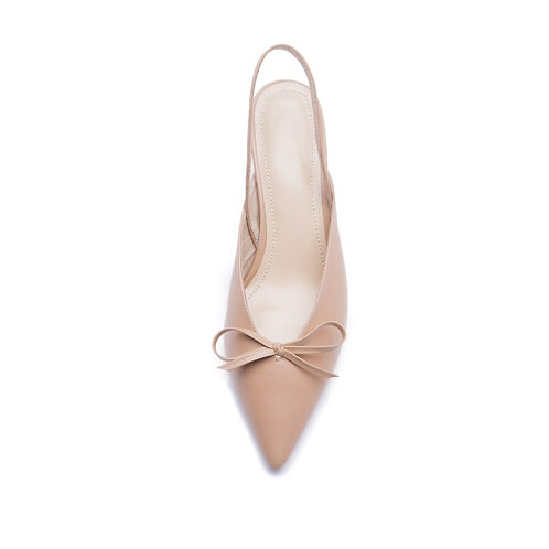 Elegant lambskin comfortable kitten heels