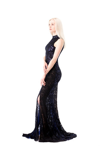 Elegant Black Lace Gown with Sheer Lining WAVE1508BKBL