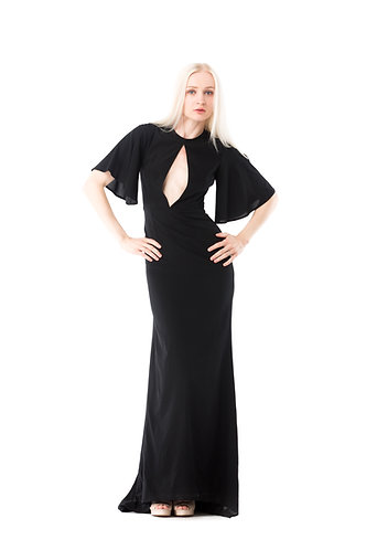 WAVE lotus classic black evening gown